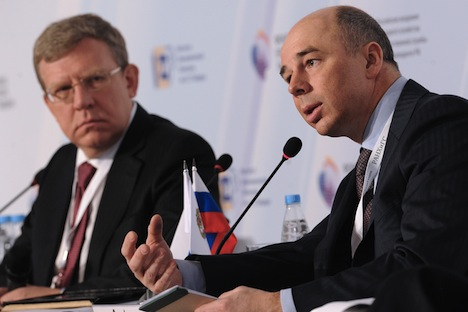 From left: Aleksei Kudrin, chairman of the board of trustees of the Gaidar Institute for Economic Policy, and Anton Siluanov, Russia's minister of finance, at the Gaidar Forum 2013 'Russia and the World: Challenges of Integration'. Source: RIA Novost