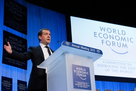 Prime Minister Dmitry Medvedev speaks at the 2013 World Economic Forum in Davos. Source: RIA Novosti / Dmitry Astakhov