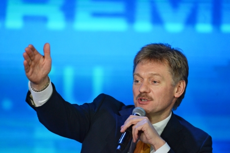 "President Vladimir Putin's spokesman Dmitry Peskov: ""In cases where certain legal procedures haven't been finalized, a total ban on adoptions by American parents will be applied."" Source: RIA Novosti / Alexander Petrov"