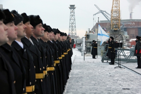 The Russian submarine, Yuri Dolgorukiy, has been passed into service by the Russian Navy. The inauguration took place at the Sevmash shipbuilding company in Severodvinsk, Archangelsk Region on Jan. 10. Source: RIA Novosti / Pavel Kononov