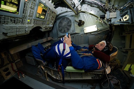 Russian cosmonaut Yuriy Romanenko sits in the cabin of a centrifuge used for training at the Star City space center outside Moscow. Source: Reuters / Vostock-Photo