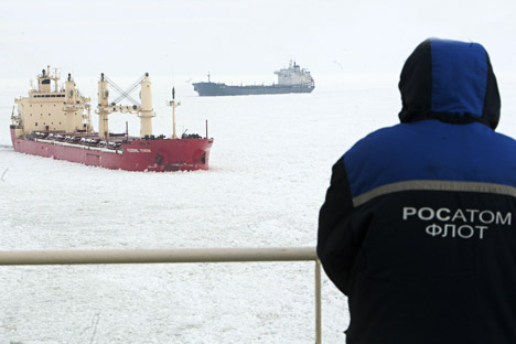 The nuclear-powered icebreaker Vaigach in the Gulf of Finland. Source: RIA Novosti / Vadim Zhernov