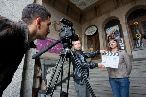 "During the production of short documentaries in St. Pteresburg for the International Film Festival. The name of the film is ""The Message to a Human."" Source: ITAR-TASS"