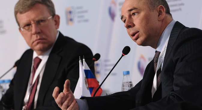 From left: Aleksei Kudrin, former finance minister, and Anton Siluanov, Russia's current finance minister, at the Gaidar Forum 2013 'Russia and the World: Challenges of Integration'. Source: RIA Novosti / Alexei Filippov
