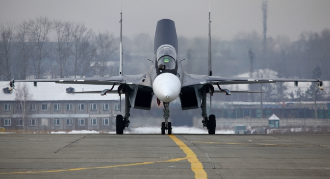 In 2012 Russia received from India a 1.6-billion-dollar deal for 42 Sukhoi Su-30 fighter jets. Pictured: Su-30 SM fighter jet. Source: RIA Novosti