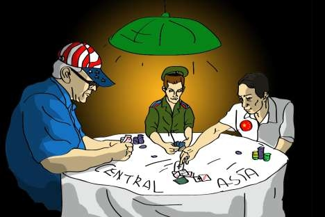 US withdrawal may push Central Asia toward Russia. Drawing by Dan Pototsky