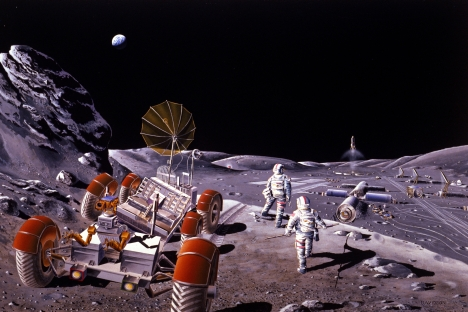 Russian and American scientists to begin large-scale lunar exploration. Pictured: Artist concept of a base on the Moon. Source: NASA / Wikipedia