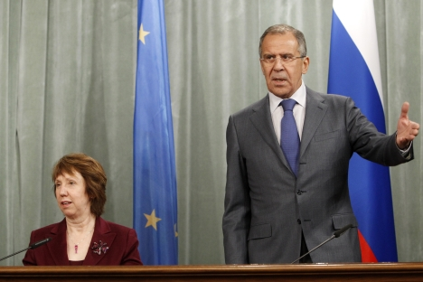 Russian Foreign Minister Sergei Lavrov met with EU representative Catherine Ashton on Feb. 19 to discuss visa issues. Source: Reuters