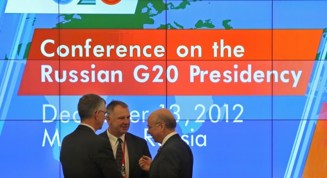 "Participants of a press briefing within the framework of the Conference on the Russian Presidency in G20 ""Fostering Economic Growth and Sustainability"" held on December, 13, 2012. Source: RIA Novosti / Ekaterina Chesnokova"