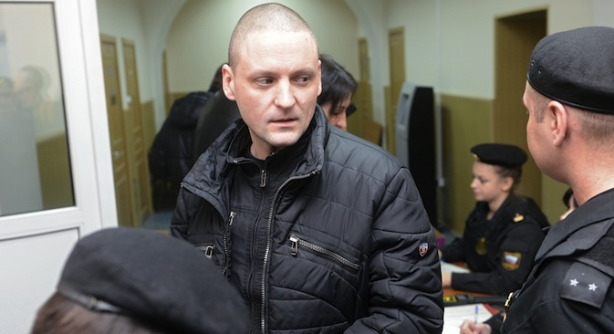 Russian opposition activist Sergei Udaltsov before an interrogation in Russia's Investigative Committee. Source: RIA Novosti / llya Pitalev