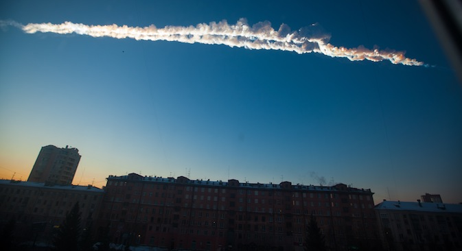 The meteorite shower in Russia's Urals puzzled scientists and politicians. In this photo provided by Chelyabinsk.ru a meteorite contrail is seen over Chelyabinsk on Friday, Feb. 15, 2013. Source: AP / Yekaterina Pustynnikova