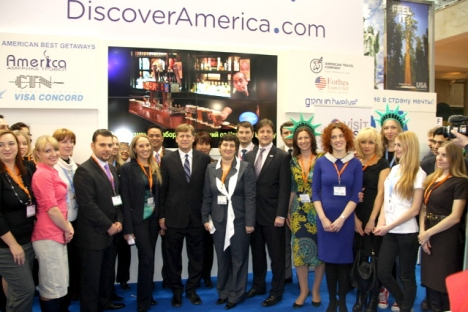 With the exhibitors at the VisitUSA Russia booth during the Moscow International Travel & Tourism Expo (MITT) 2013. Source: Courtesy of U.S. Embassy in Moscow