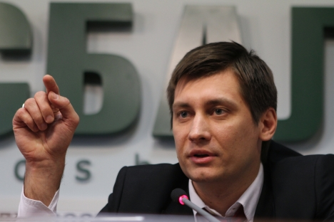 "State Duma deputy Dmitry Gudkov at a news conference ""Situation in the Fair Russia Party."" Source: RIA Novosti / Konstantin Rodikov"