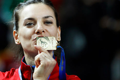Russia pins hopes on pole-vaulterYelena Isinbayeva (pictured) at the International Association of Athletics Federations World Championships. Source: Reuters / Vostock Photo