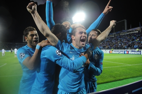 Zenit St Petersburg player Alexander Kerzhakov celebrates after scoring a goal in a UEFA Champions League match. Source: ITAR-TASS