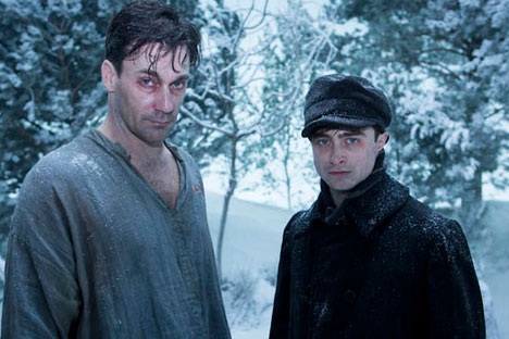 "John Hamm and Daniel Radcliffe (L-R) playing in the British comedic drama ""A Young Doctor's Notebook,"" based on Mikhail Bulgakov's diaries. Source: Kinopoisk.ru"