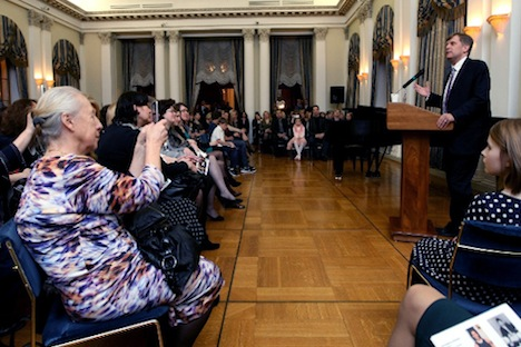 U.S. Ambassador Micheal McFaul taking the floor in Spaso House during the celebration of International Women's Day. Source: Courtesy of U.S. Embassy in Moscow