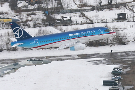 The SSJ-100 civil aircraft (pictured) performed its first 2.5-hour commercial flight between Russia's Yakutsk and Harbin in China, with 59 passengers onboard. Source: sukhoi.org