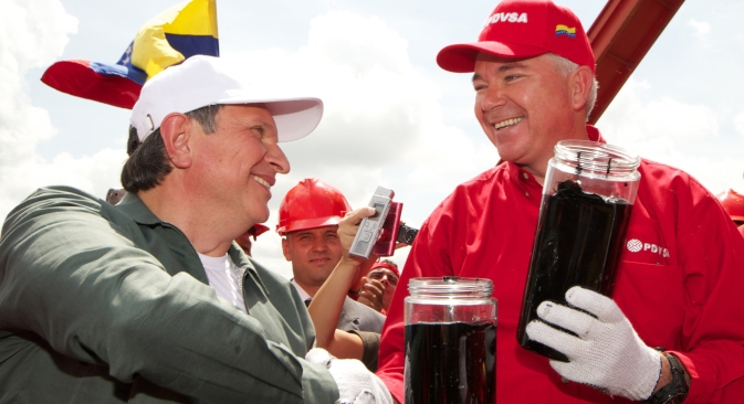 President of Rosneft company Igor Sechin (left) during his working visit to Venezuela. Source: RIA Novosti