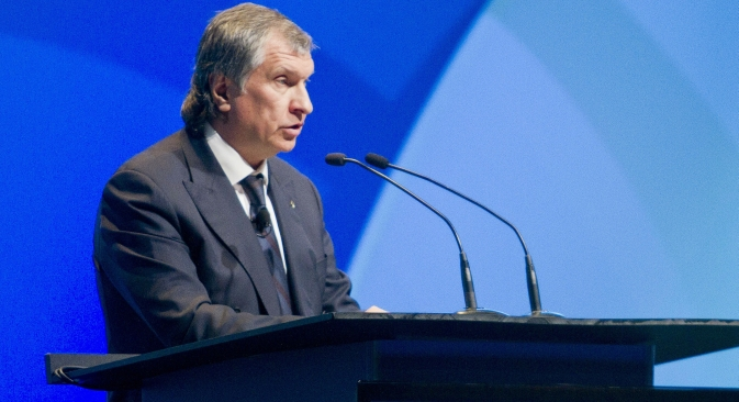 Rosneft President and Chairman of the Managing Board Igor Sechin speaks during the IHS CERAWeek energy conference in Houston March 6, 2013. Source: Reuters