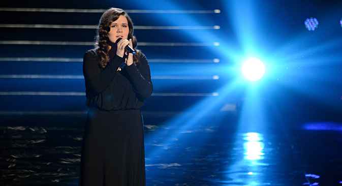 The winner of The Voice TV song contest Dina Garipova during her final performance. She will represent Russia in the Eurovision Song Contest 2013 (archive photo). Source: RIA Novosti / Ruislan Roshcupkhin