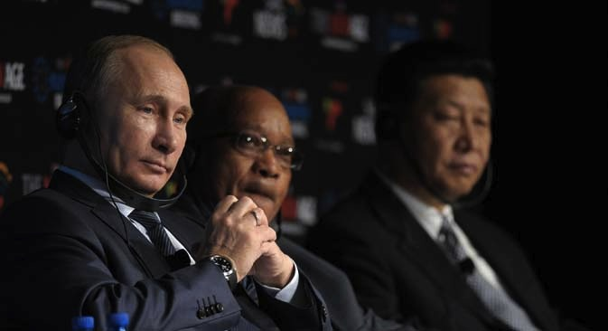 The BRICS leaders failed to come up with a clear concept of a joint development bank. Pictured (L-R): Russian President Vladimir Putin, South Africa's President Zuma and their Chinese counterpart Xi Jinping. Source: ITAR-TASS