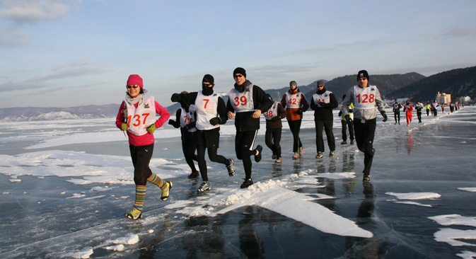Lake Baikal Ice Marathon was held for the ninth time on March 3, 106 of the 143 participants were foreigners, mostly from Europe, the U.S. and Japan. Source: David Isaksson.