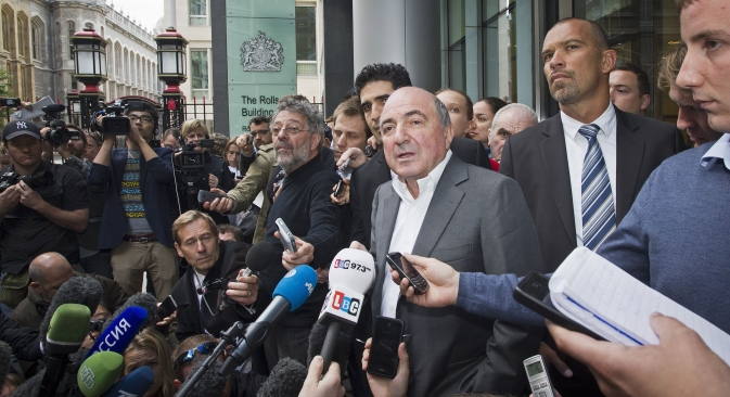 Russian oligarch Boriz Berezovsky speaking to the media after his trial with billionaire Roman Abramovich in London. Source: Rex Features / Ben Cawthra