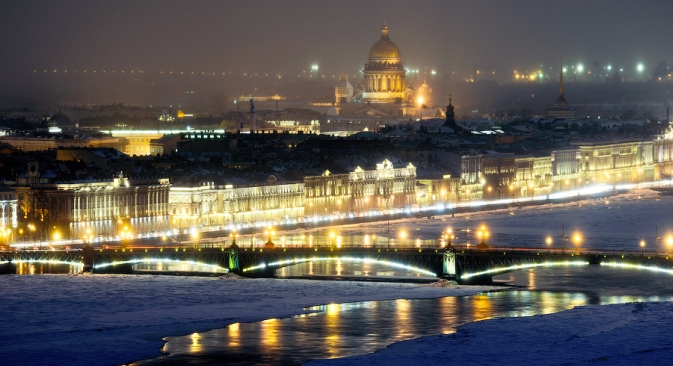 Night view of St. Isaac's Cathedral in St. Petersburg. Source: Slava Stepanov