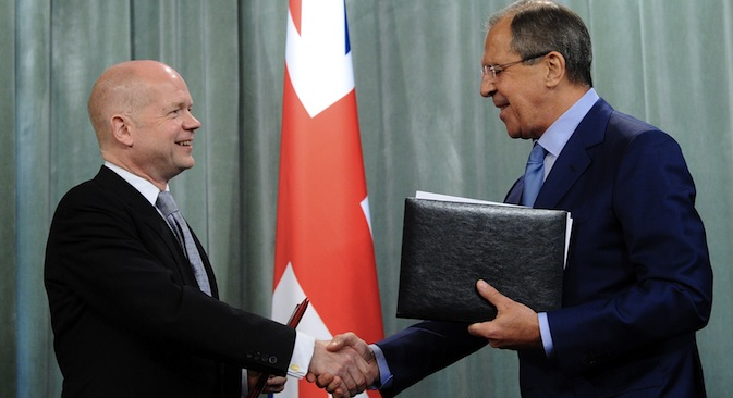 The foreign and defense ministers of Russia and the UK discussed key issues during the Inaugural UK-Russia Strategic Dialog. Pictured (L-R): UK Foreign Secretary William Hague and Russian Foreign Minister Sergei Lavrov.Source: ITAR-TASS