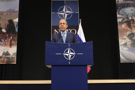 Russia's Foreign Minister Sergey Lavrov addresses the media at the end of an NATO-Russia coucil, during a NATO foreign ministers meeting at NATO headquarters in Brussels, Tuesday, April 23, 2013. Source: AP