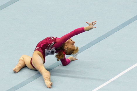 Russia's Anastasia Grishina competes during the women's apparatus finals on the floor at the European Men's and Women's Artistic Gymnastic Individual Championships in Moscow April 21, 2013. Source: Reuters