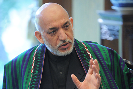 Hamid Karzai, President of the Islamic Republic of Afghanistan, meeting with Russian President Vladimir Putin at the Diaoyutai state guest house in Beijing, June 7, 2012. Source: RIA Novosti