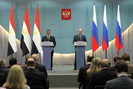 Last week Egyptian President Mohamed Morsi met with his Russian counterpart Vladimir Putin in Sochi to discuss the bilateral collaboration between two countries. Source: RIA Novosti / Mikhail Klementyev