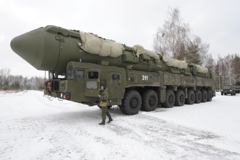 With the West cutting military spending, Russia steps up its military expenditures, according to International Institute for Strategic Studies. Pictured: Yars intercontinental ballistic missile. Source: RIA Novosti / Sergey Pyatakov