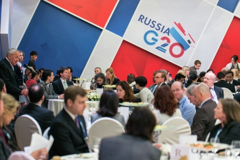 "Participants of a press briefing within the framework of the Conference on the Russian Presidency in G20 ""Fostering Economic Growth and Sustainability"" held on Feb. 28. Source: G20 / Press Service"