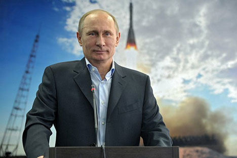 Vladimir Putin had a video linkup with the International Space Station during his visit to the new space centre Vostochny .Source: press photo
