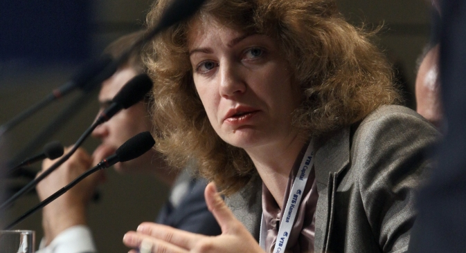 "Editor-in-chief of the Russian edition of Forbes Magazine Elizaveta Osetinskaya: ""Investigative journalism is getting better."" Source: Kommersant"