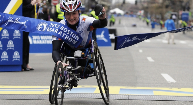 Russian-born American athlete Tatyana McFadden [pictured] will remember the Boston blast forever: On that date, she won the women's wheelchair race in Boston. Source: Reuters