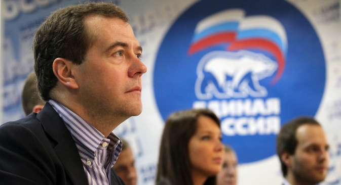 Russian Prime Minister Dmitry Medvedev during a session of the United Russia party in St. Petersburg. Source: ITAR-TASS