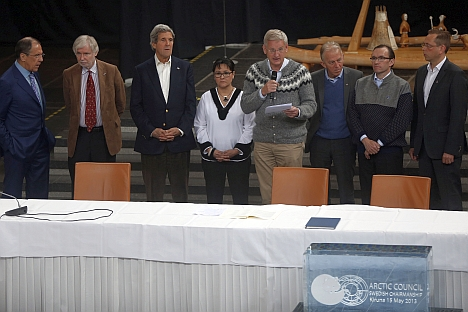 U.S. Secretary of State John Kerry (3rd L), Russia's Foreign Minister Sergei Lavrov (L) at the Arctic Council Ministerial Meeting in Kiruna, Sweden on May 15, 2013. Source: AP
