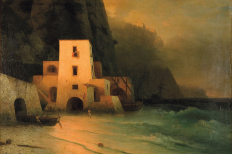 Fishermen on a Moonlit Coast by Ivan Aivazovsky, the master of dramatic ocean light, for auction during Russian Art Week at Christie's. Source: PressPhoto