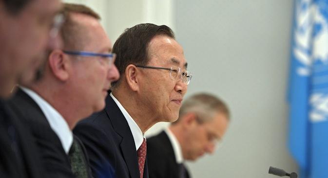 Ban Ki-moon brachte seine Hoffnung zum Ausdruck, dass Russland auch weiterhin eine führende Rolle bei der Lösung globaler Konflikte spielen werde. Foto: RIA Novosti