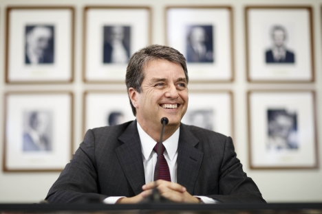 Russia pins hopes on Brazil's Roberto Azevedo, an incoming head of WTO. Source: Reuters