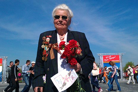 Sofya Gudynova was one of the veterans celebrating at Moscow's Victory Park on May 9