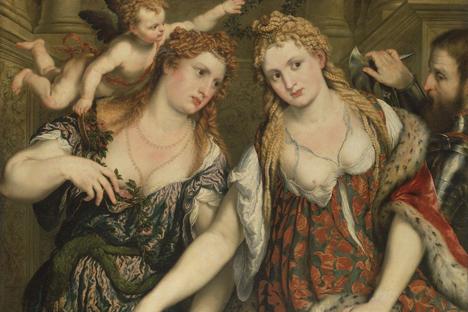 "Paris Bordone ""Two women, a Cupid & a Soldier"". Source: Press Photo"