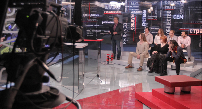 "The first issue of the evening show ""The Truth"" was dedicated to the teenagers' associations.Source: Sergey Kuksin / RG"