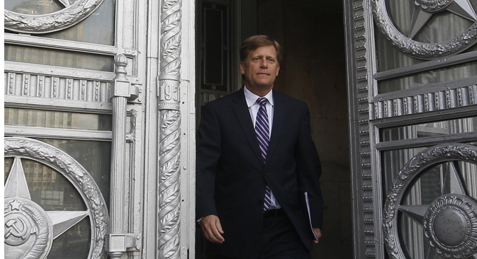 Russia lodged an official protest with US Ambassador Michael McFaul on May 15, after FSB reported that a US diplomat suspected of trying to recruit a Russian security services agent. Source: Reuters
