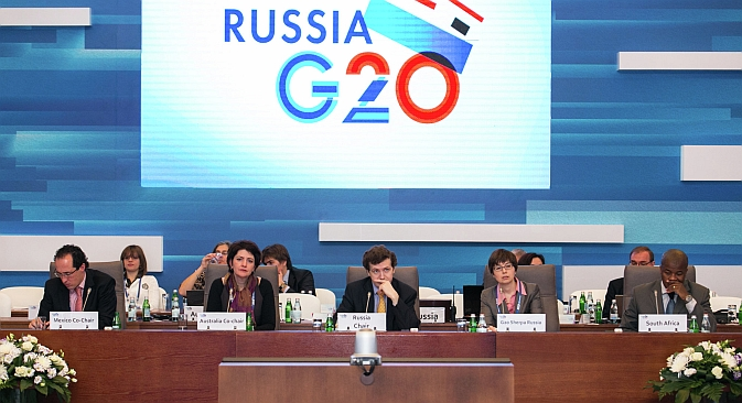 "The G20 summit offers Russia both challenges and  opportunities. Pictured: Participants of a briefing at the Conference on the Russian Presidency in G20 ""Fostering Economic Growth and Sustainability"" held on Feb. 28. Source: G20 / Press Service"