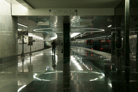 Pyatnitskoe Shosse is one of the six stations in Moscow with a concave platform. Source: Dmitriy Berdasov
